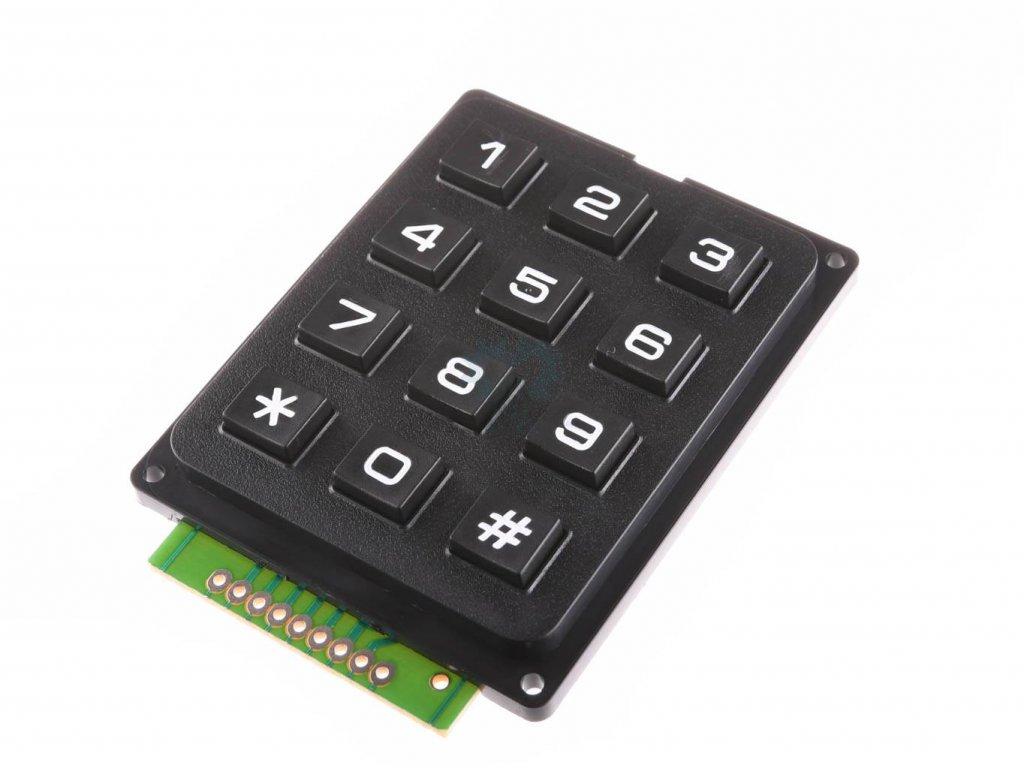 4x3  Maticová tlačítková klávesnice Plastová