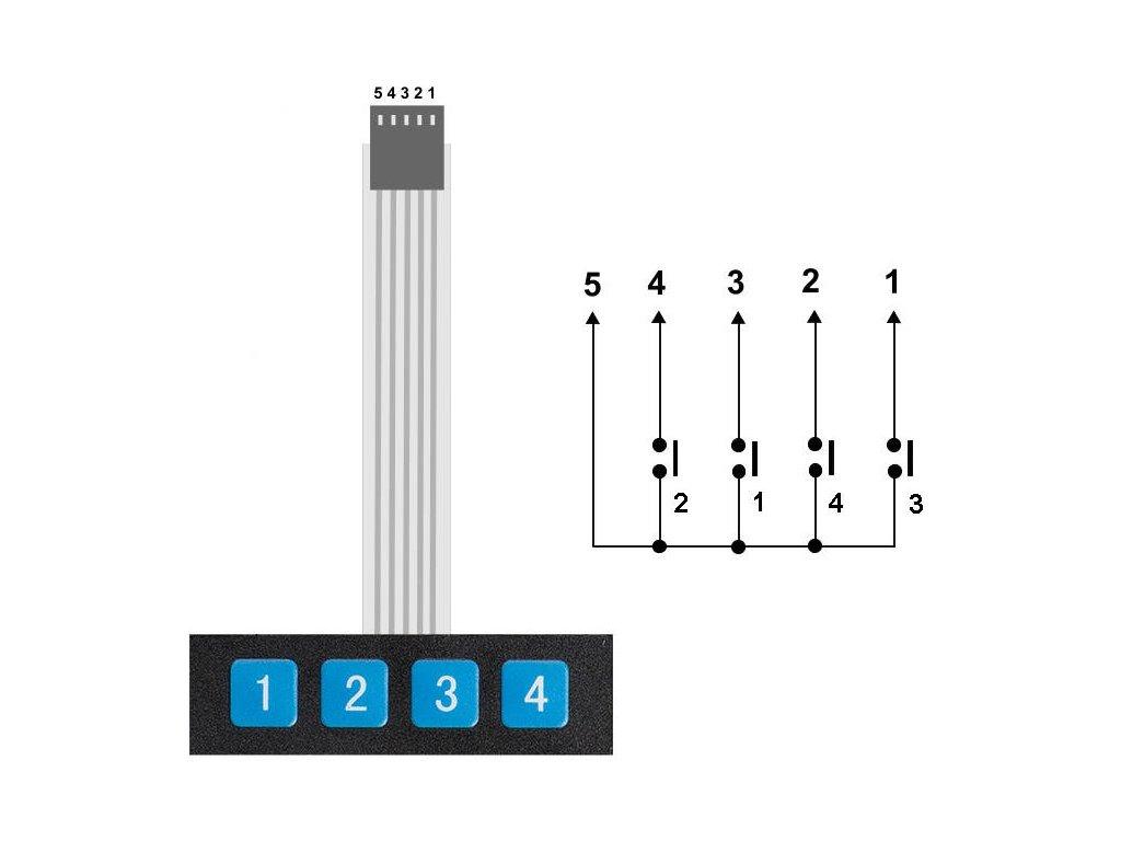 Arduino 1x4 Maticová membránová klávesnice
