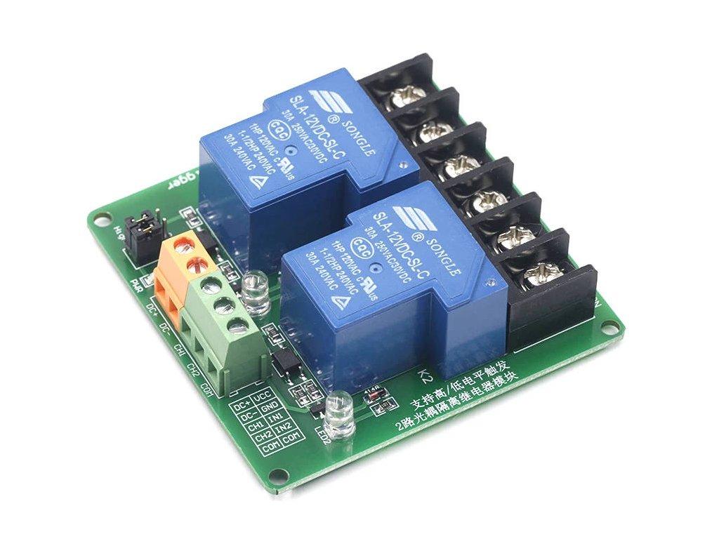 2-kanál 5V relé modul, High-Low, 250VAC 30A