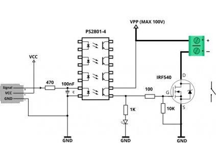 Mosfet Tlačítko, 4x IRF540, 100VDC 20A