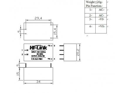 Hi-Link HLK-PM01 AC-DC izolovaný zdroj 5V 3W