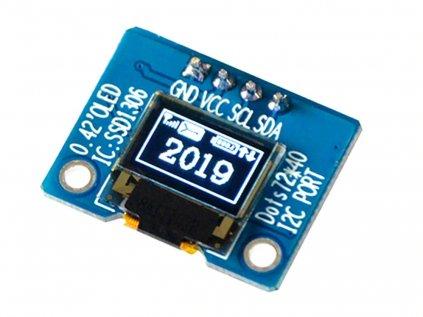 """OLED displej bílý 72x40 0.42"""" I2C"""