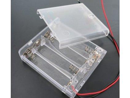 Bateriový box 4xAA uzavřený s vypínačem