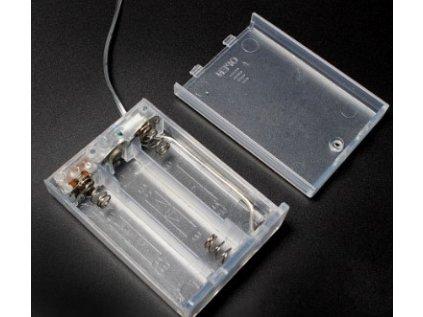Bateriový box 3xAA uzavřený s vypínačem